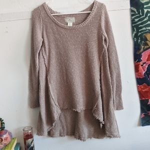 Anthro Ruby Moon Thermal Distressed Sweater